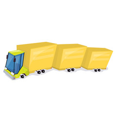 yellow truck cartoon car funny and comic style vector image vector image