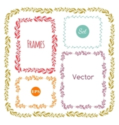Color hand drawn frames set on white vector image