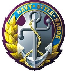 marine style emblem vector image