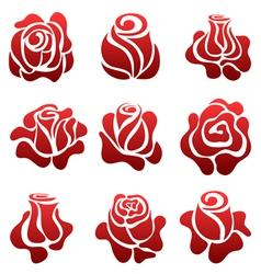 Rose symbol set vector image vector image