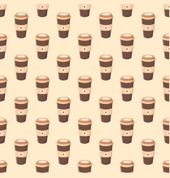 seamless pattern with coffee in a paper cup vector image vector image