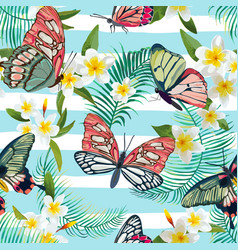 tropical seamless pattern with flowers butterflies vector image