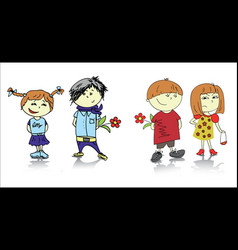 two couples cartoon vector image