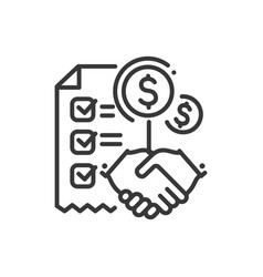 contract - line design single isolated icon vector image