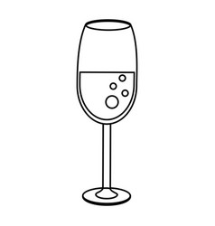 glass cup drink wedding outline vector image