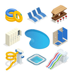 Isometric water park attractions icon set vector