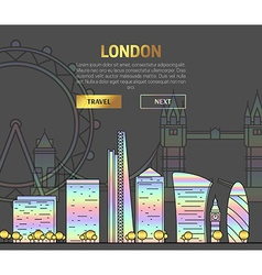 London England view street with sights in hologram vector image