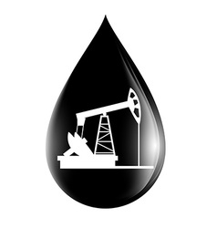 pumpjack silhouette on a drop of oil vector image vector image
