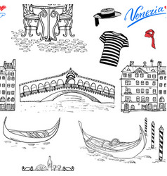 venice italy seamless pattern hand drawn sketch vector image vector image
