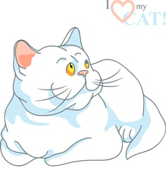 white cat with yellow eyes lying vector image vector image