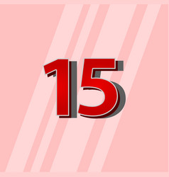 15 years anniversary red elegant number template vector