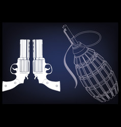 3d model of a pistol and grenade vector image