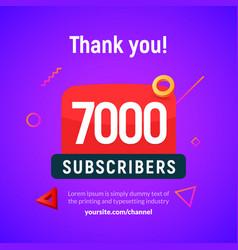 7000 followers post 7k celebration seven vector image