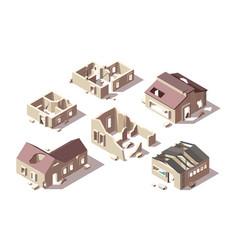 Abandoned buildings isometric broken houses city vector