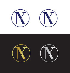 Abstract initials with letter N and letter K vector