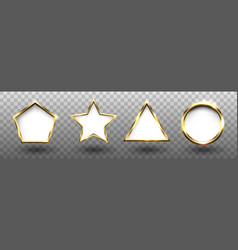 abstract shiny golden geometric shapes frames set vector image