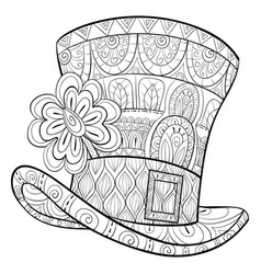 Adult coloring bookpage a cute stptarick hat vector