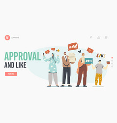 Approval and likelanding page template happy vector