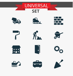 Architecture icons set collection of entrance vector