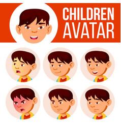asian boy avatar set kid primary school vector image