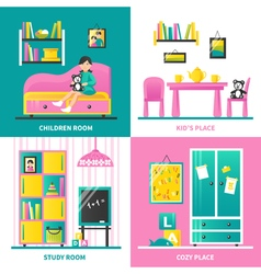 Baby Room Furniture 2x2 Design Concept vector