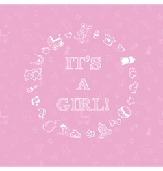 Baby shower design over pink background with vector
