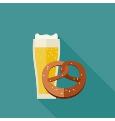 Beer and pretzel icons vector image