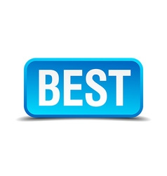 Best blue 3d realistic square isolated button vector