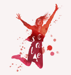 Big sale concept jumping woman vector