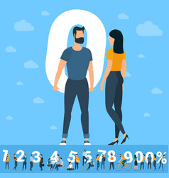 big zero number white numbers with young people vector image