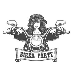 biker party handdrawn vector image