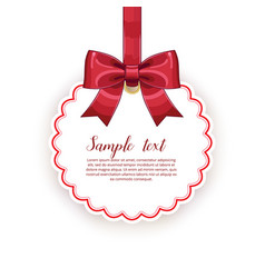 Birthday card template with bow and ribbon vector