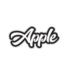black and white apple hand written word text for vector image