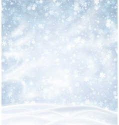 Blue background with winter landscape snowflakes vector