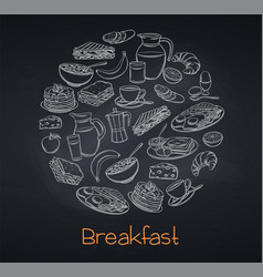 breakfast and brunch blackboard style vector image