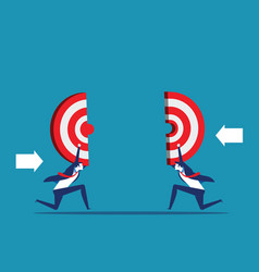 business holding target teamwork to reach vector image