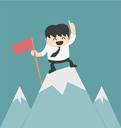 Businessman planting flag high Peak vector
