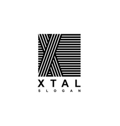 capital letter x is inscribed in a square modern vector image