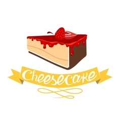 Cheesecake with strawberry jam vector image