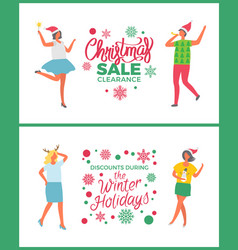 Christmas sale on winter holidays people partying vector