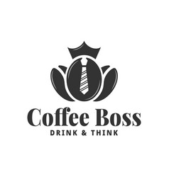 coffee bean logo boss coffee concept on white vector image