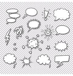Comic speech bubbles and elements set vector