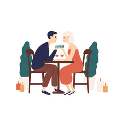 couple sit at table in restaurant hold gift box vector image