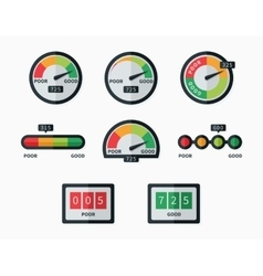Credit score indicators and gauges set vector