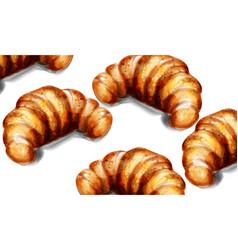croissant watercolor breakfast template vector image
