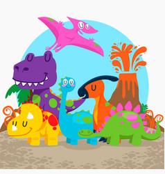 Cute dinosaurs set vector