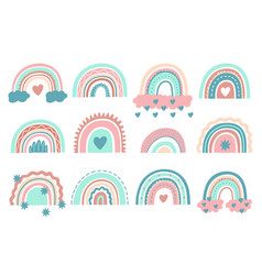 cute rainbows doodle nursery rainbow with clouds vector image