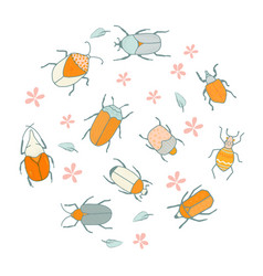 Decoration with cute bugs and flowers vector