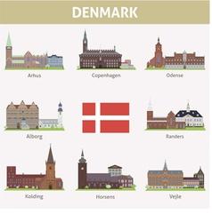 Denmark symbols cities vector