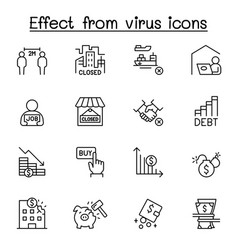Effect from virus icon set in thin line style vector